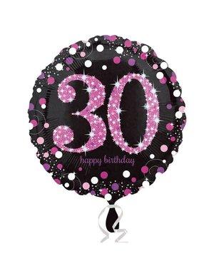 Folieballon Sparkling Zwart/Roze -30 Jaar