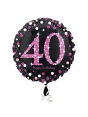 Folieballon Sparkling Zwart/Roze - 40 Jaar