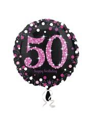 Folieballon Sparkling Zwart/Roze -50 Jaar