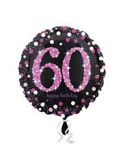 Folieballon Sparkling Zwart/Roze - 60 Jaar