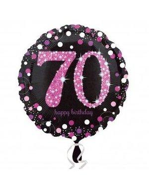 Folieballon Sparkling Zwart/Roze - 70 Jaar