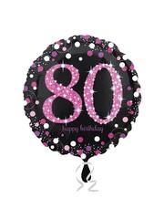 Folieballon Sparkling Zwart/Roze - 80 Jaar