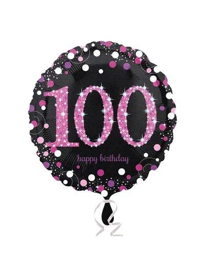 Folieballon Sparkling Zwart/Roze - 100 Jaar