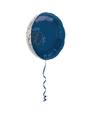 Folieballon Elegant True Blue  - 50 Jaar