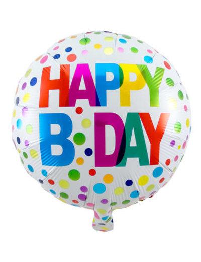 Folieballon Happy Bday Dots - 45cm
