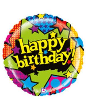 Folieballon  Happy Birthday Stars  - 53cm