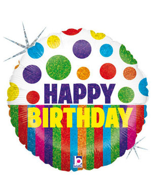 Folieballon  Happy Birthday Dots & Stripes  - 45cm