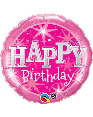Folieballon Happy Birthday  Pink Stars - 46cm