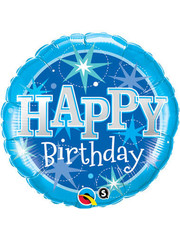 Folieballon Happy Birthday  Blue Stars - 46cm