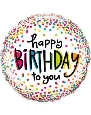 Folieballon Happy Birthday To You Confetti - 46cm