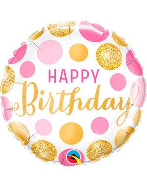 Folieballon Happy Birthday Gold/Pink - 45cm