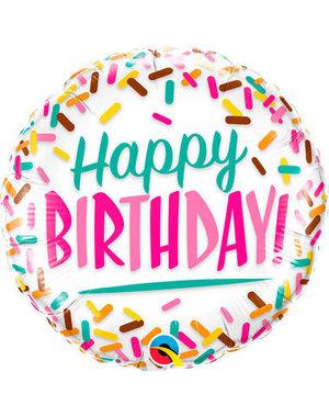 Folieballon Happy Birthday Sprinkels - 45cm