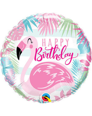 Folieballon Happy Birthday Flamingo - 45cm