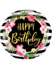 Folieballon Happy Birthday Flowers - 45cm
