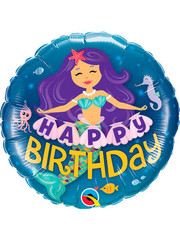 Folieballon Happy Birthday Mermaid - 45cm