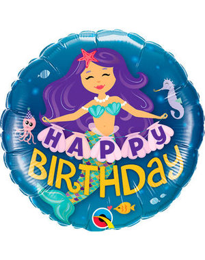 Folieballon Happy Birthday Mermaid - 45cm