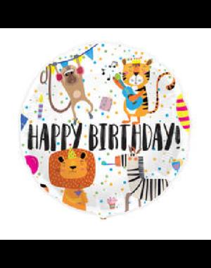 Folieballon Happy Birthday Animals - 45cm