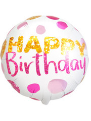 Folieballon Happy Birthday  Stip - 45cm