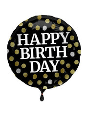 Folieballon Happy Birthday Glossy Zwart - 45cm
