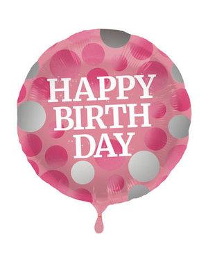 Folieballon Happy Birthday Glossy Roze - 45cm