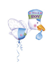 Folieballon Ooievaar It's a Boy - 102x81cm