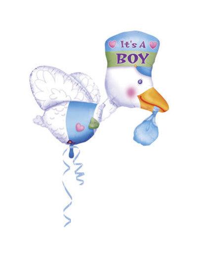 Folieballon Ooievaar It's a Boy - 102x81cm