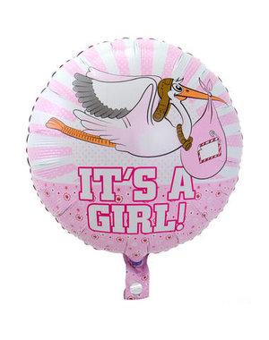 Folieballon It's a Girl Ooievaar- 43cm