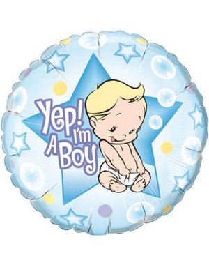 Folieballon Yep i'm a Boy - 46cm