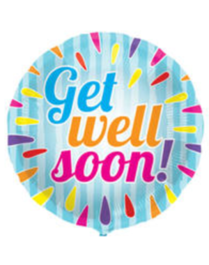 Folieballon Get Well Soon Stripes - 45cm