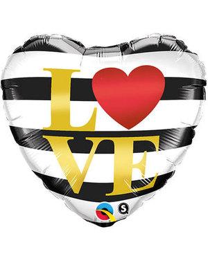 Folieballon LOVE Streepjes  - 46cm