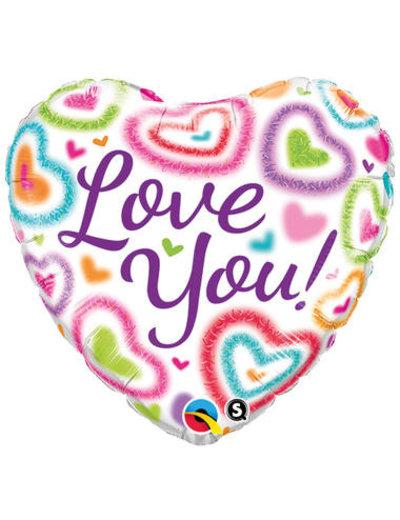 Folieballon Love You Hartjes  - 46cm