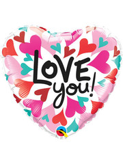 Folieballon Love You Hearts - 45cm