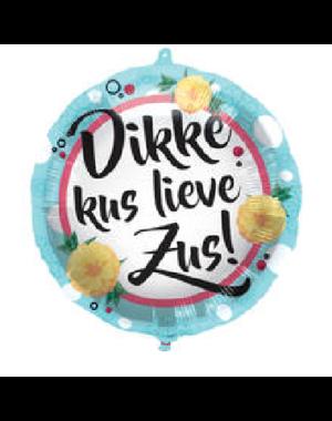 Folieballon Dikke Kus Lieve Zus - 45cm