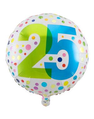 Folieballon  25 Jaar Dots - 45cm