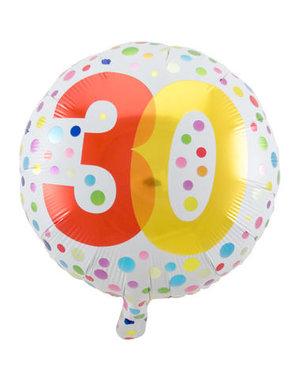 Folieballon  30 Jaar Dots - 45cm