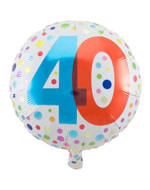 Folieballon  40 Jaar Dots  - 45cm