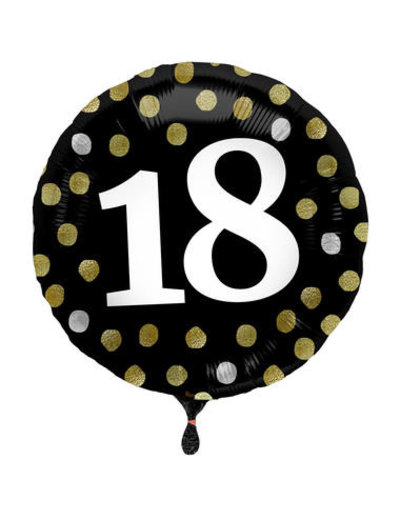 Folieballon  18 Jaar Glossy Black - 45cm