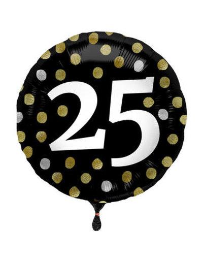 Folieballon  25 Jaar Glossy Black - 45cm