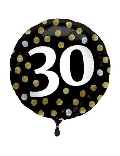 Folieballon  30 Jaar Glossy Black - 45cm