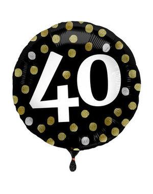 Folieballon  40 Jaar Glossy Black - 45cm