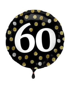 Folieballon  60 Jaar Glossy Black - 45cm