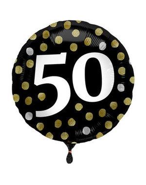 Folieballon  50 Jaar Glossy Black - 45cm