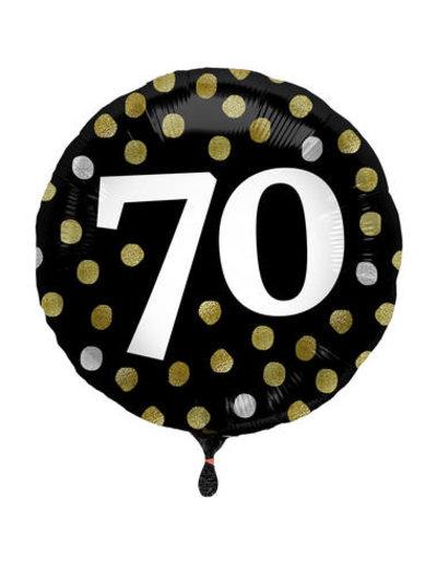 Folieballon  70 Jaar Glossy Black - 45cm