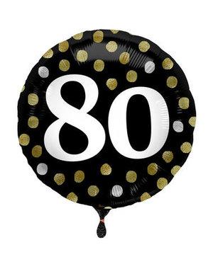 Folieballon  80 Jaar Glossy Black - 45cm