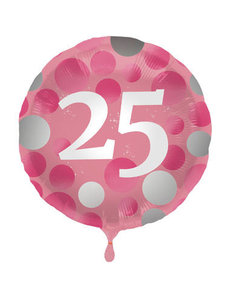 Folieballon  25 Jaar Glossy Pink - 45cm
