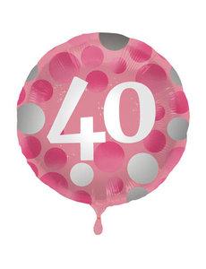 Folieballon  40 Jaar Glossy Pink - 45cm