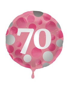 Folieballon  70 Jaar Glossy Pink - 45cm