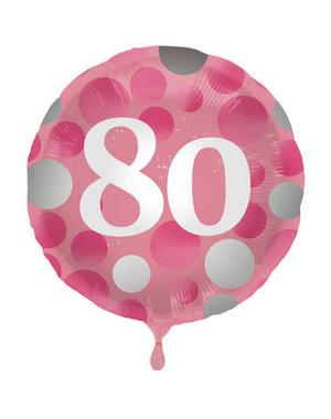 Folieballon  80 Jaar Glossy Pink - 45cm