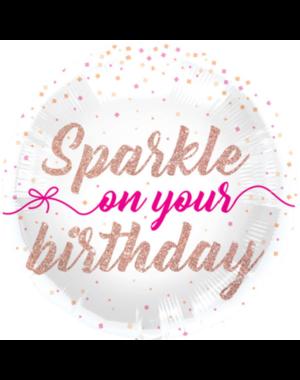 Folieballon Sparkle on your Birthday  - 45cm