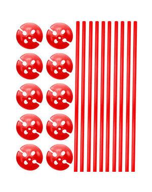 Ballonstokjes met houders Rood - 10stk
